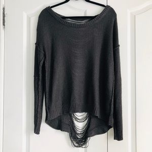 Fifty Street Gray Distressed Open Back Sweater